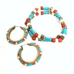 Jewelry - MULTICOLORED BEADED BRONZE EARRINGS AND BRACELET